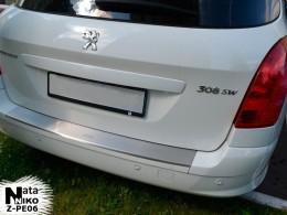 NataNiko Накладка с загибом на бампер Peugeot 308 SW 2011-