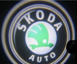 Проекция логотипа Skoda.Беспроводные проекторы Skoda 7 Вт
