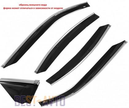 Cobra Tuning Profi Дефлекторы окон Hyundai Sonata NF Sd 2004 с хромированным молдингом