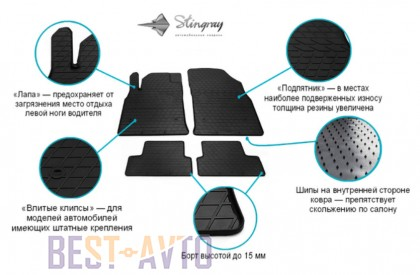 Stingray Коврики резиновые Skoda Superb I 2001-2008/VW Passat B5 передние