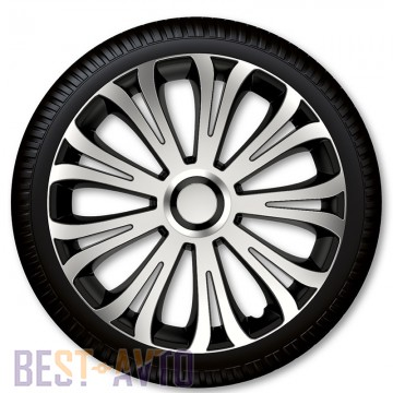 4 Racing Колпаки для колес Avera Silver Black R15 (Комплект 4 шт.)