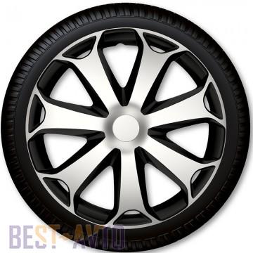 4 Racing Колпаки для колес Mega Silver Black R15 (Комплект 4 шт.)