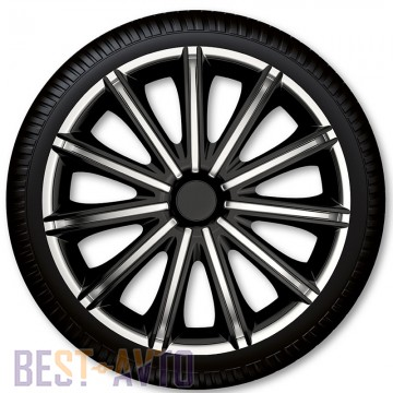4 Racing Колпаки для колес Nero Black Silver R16 (Комплект 4 шт.)