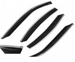 Дефлекторы окон Renault Sandero 2009 с хромированным молдингом Cobra Tuning Profi