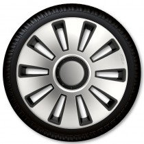 4 Racing Колпаки для колес Silverstone Silver Black R15 (Комплект 4 шт.)
