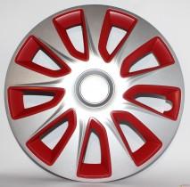 Колпаки для колес Stratos silver&red R15 (Комплект 4 шт.) Elegant