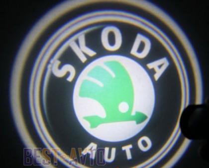 Проекция логотипа Skoda. Проводные проекторы 5Вт