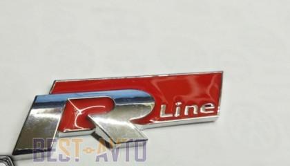 Логотип шильдик Volkswagen R line (красный) на крышку багажника