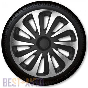 4 Racing Колпаки для колес Caliber Carbon Silver Black  R13 (Комплект 4 шт.)