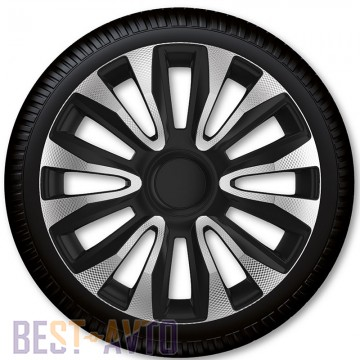 4 Racing Колпаки для колес Avalon Carbon Silver Black R13 (Комплект 4 шт.)