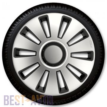 4 Racing Колпаки для колес Silverstone Silver Black R14 (Комплект 4 шт.)