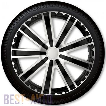 4 Racing Колпаки для колес Toro Silver Black R15 (Комплект 4 шт.)
